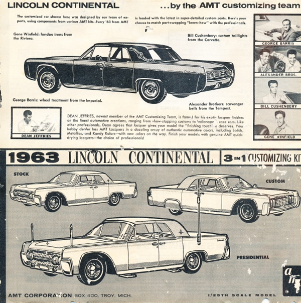 1963 Lincoln Continental Customizing Kit 3 39 N 1 Stock Custom Or Presidential 1 25