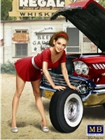 1950's-60's  Pin-Up Girl Wearing Mini-Skirt Leaning on Tire (1/24)
