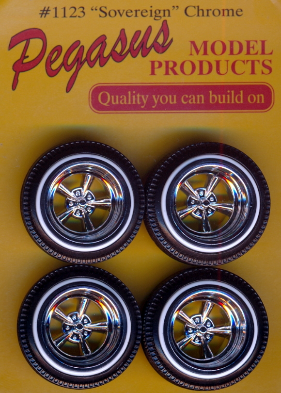 """Aftermarket Car Parts >> Sovereign """"Astro"""" 5-Spoke Wheels with Whitewall Tires (Set of 4) (1/25)"""