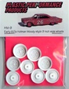 1960's and 70's Holman Moody Style 9 inch wide wheels. (molded white) (4 with inner wheels) 1/25