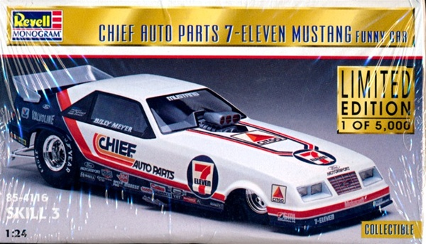 1985 ford mustang chief auto parts 7 11 billy meyer funny car 1 24 fs. Black Bedroom Furniture Sets. Home Design Ideas