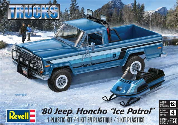 1980 Jeep Honcho with Arctic Cat Snowmobile (1/24) (fs)