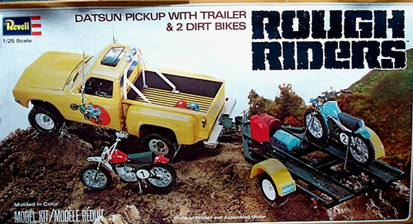 Datsun Off Road Pickup With Trailer And 2 Dirt Bikes