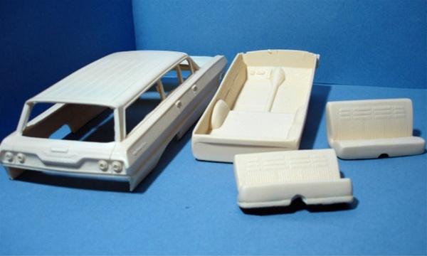 1963 Chevy Belair 4 Door Station Wagon With Open Hood