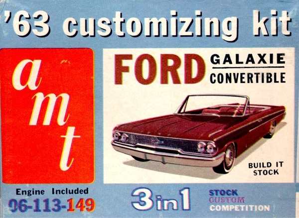 Aftermarket Car Parts >> 1963 Ford Galaxie 500XL Convertible (3 'n 1) Stock, Custom or Competition (1/25) MINT
