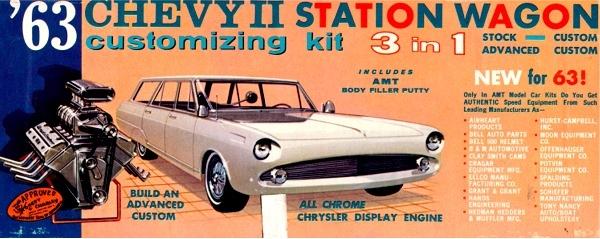 1963 Chevy II Nova Station Wagon with Trailer (3 'n 1) Stock, Custom or  Advanced Custom (1/25)