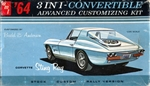 1964 Chevy Corvette Stingray Convertible Customizing Kit with Trailer (3 'n 1) Stock, Custom or Rally (1/25)