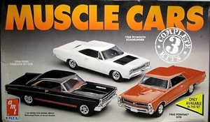 1960's AMT Muscle Car Combo '1965 GTO 1966 Fairlane 1968 Roadrunner' (1/25) (fs)