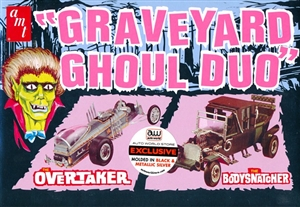 "Graveyard (Munsters) Ghoul Duo ""The Overtaker"" (Munsters Coach) in Black and The ""Bodysnatcher"" (Dragula) in Silver (1/25) (fs)"