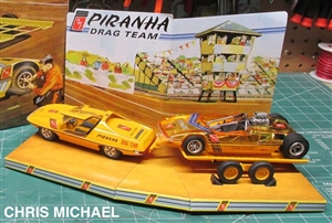 AMT 1113 Piranha Drag Team dragster tow car  plastic model kit 1//25 trailer