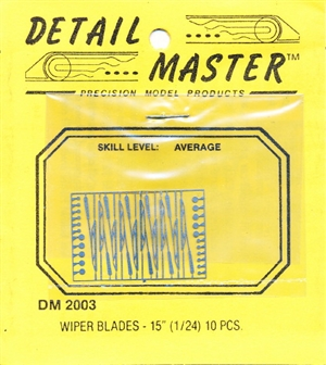 "Detail Master 15"" Wiper Blades 50's, 60's, 70's  for 1/24 & 1/25"