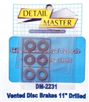 Vented Disc Brakes - Drilled for 1/24 & 1/25 kits (Set of 2)