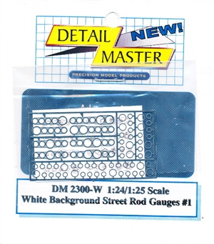 Street Rod Gauges White Background  for 1/24 & 1/25