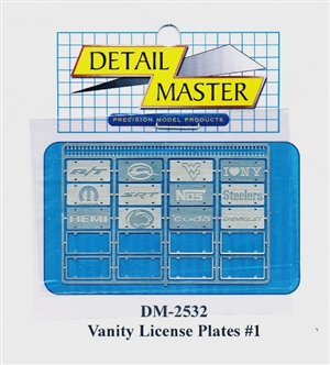 Detail Master Vanity Photo-Etch License Plates and Frames #1 (1:25-1:24)