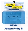 "Detail Master Adapter Fitting #1 (8pcs) (.022 "") for 1/24 & 1/25"