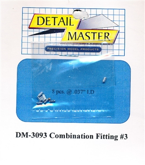 "Detail Master Combination Fitting #3 (8pcs) (.037 "") for 1/24 & 1/25"