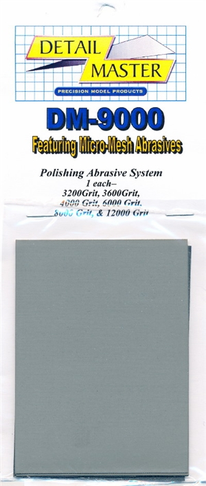 Detail Master Polishing Abrasive System with 6 Micro-Mesh Sheets (3200-12000 Grit)
