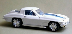1967 CORVETTE COUPE Ermine White-Blue Stinger-Metallic Blue Interior Ltd. Edition(1/18) Rare Diecast  (fs)