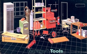 Garage Tools (Asst hand tools, tool chests, jacks, eng stand, etc) (1/24) (fs)