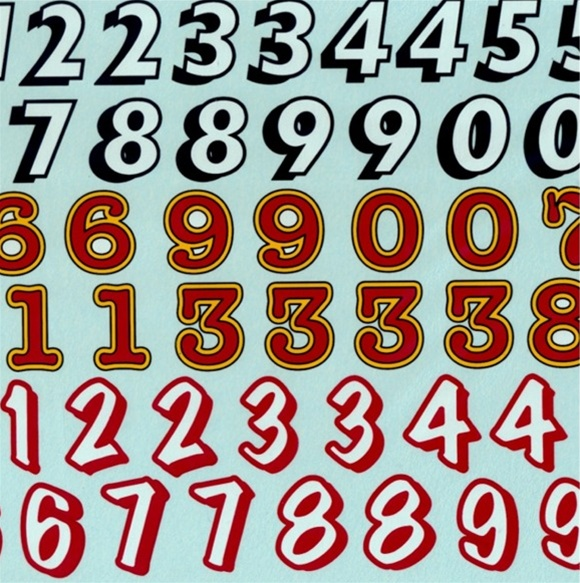 Race Car Numbers Decal Sheet  Or - Race car decals