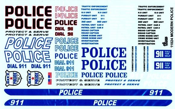 Modern police cars gofer decals 1 25 or 1 24