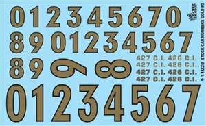 Gold Numbers Model Car-Stock Car Decal Sheet #3 Gofer Racing (1/25 or 1/24)