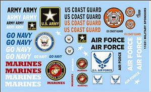 Military Sponsors-Army, Navy, Marines, Air Force, Coast Guard Gofer Racing (1/25 or 1/24)