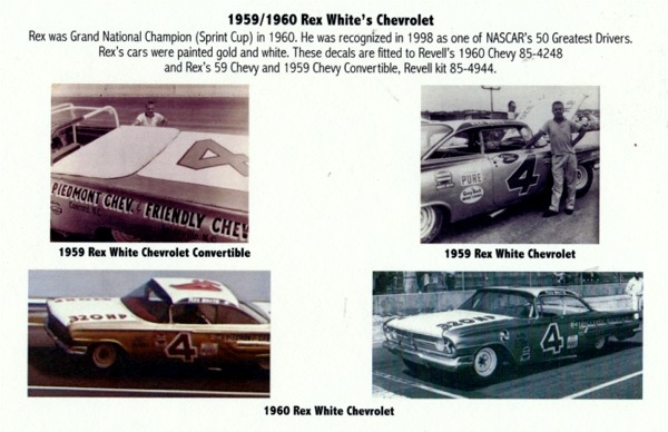 Gofer Racing Rex White 1959/1960 Chevy Decal Sheet (1/25 or 1/24)