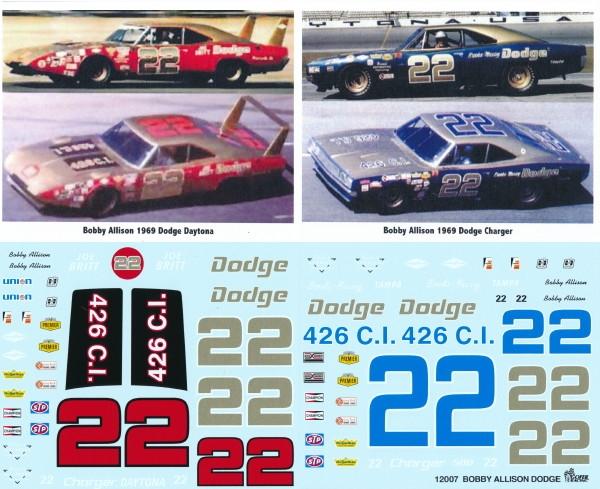 Gofer racing 1969 bobby allison dodge race car decal sheet 1 25