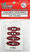 "Race Car Instrument Panel and Gauges - Diecut Plastic ""Wood Grain #2"" (1:24-1:25)"
