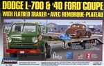 1965 Dodge L-700 Tilt Cab with Flatbed Trailer and 1940 Ford Coupe  (1/25) (fs)