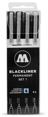 Molotow Blackliner Permanent Pen Set 1 (set of 4) (.05, .1, .2, .4mm)
