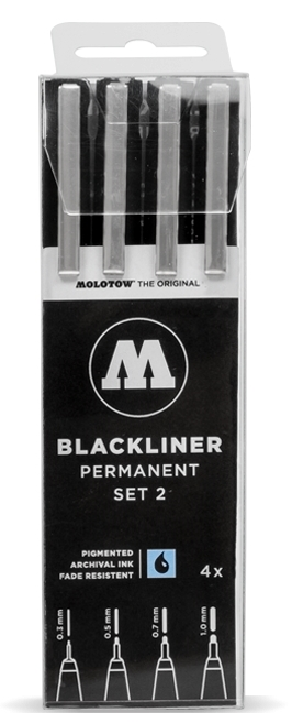 Molotow Blackliner Permanent Pen Set 2 (set of 4) (.3, .5, .7, 1mm)