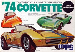 1974 Chevy Corvette Sting Ray Convertible (3 'n 1) Stock, Open Roadster, and Racing (1/25) (fs)