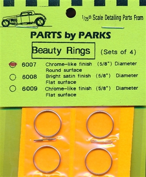"Beauty Rings 5/8"" Round Surface Chrome Finish (set of 4) (1/25 & 1/24)"