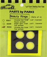 "Beauty Rings 5/8"" Flat Surface Chrome Finish (set of 4) (1/25 & 1/24)"