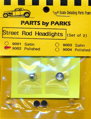 Street Rod Cone Back Headlights Polished Chrome (Set of 2) Turned Aluminum with Clear Lenses  (1/25 or 1/24)