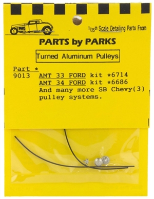Turned Aluminum 1933-34 Ford & SB Chevy Pulley Set 3 Pulleys with Belt (1/25 or 1/24)