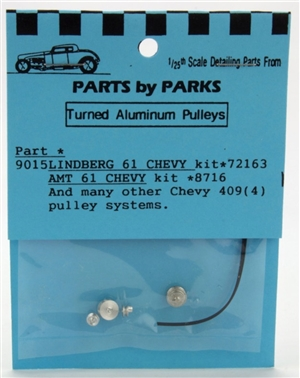 Turned Aluminum 1961 Chevy & Chevy 409 Pulley Set 4 Pulleys with Belt (1/25 or 1/24)