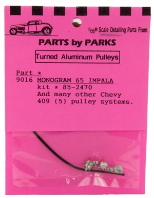 Turned Aluminum 1965 Chevy & Chevy 409 Pulley Set 5 Pulleys with Belt (1/25 or 1/24)