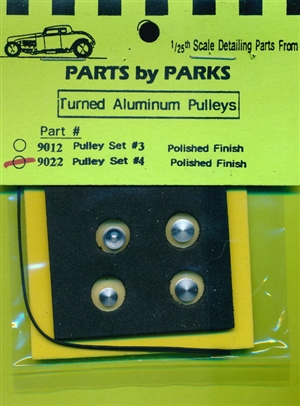 Turned Aluminum Pulleys (Set # 4) Polished Finish 4 Pulleys with Belt (1/25 or 1/24)