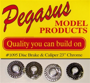 "Disc Brakes with Calipers 23"" (Chrome Plated) (Set of 4) (1/25)"