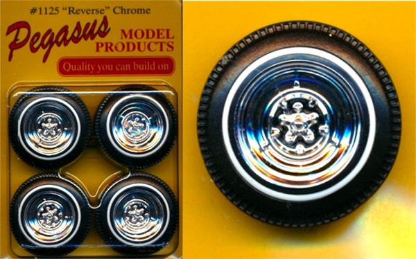 Reverse Chrome Wheels With Whitewall Tires Set Of 4 1 25