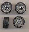 Spider wheels with tires - chrome (Set of 4) 1/25