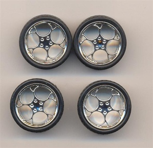 Swirl Star  rims with tires - chrome