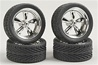 "Chrome T's (Torq Thrust) Wheels with Tires 23"" (Set of 4) (1/25)"