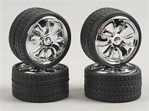 "Alba's Chrome ""Spinning Center"" Rims with Tires (Set of 4) (1/25)"