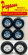 Ansen Style Slotted Wheels with Standard Tires (Set of 4) (1/25)