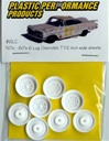 1950's-Early 60's Chevy 6 Lug Wheel (molded white) (set of 4 with inner wheels)