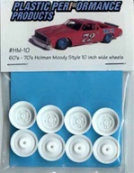 1960's and 70's Holman Moody Style 10 inch wide wheels. (molded white) (4 with inner wheels) 1/25